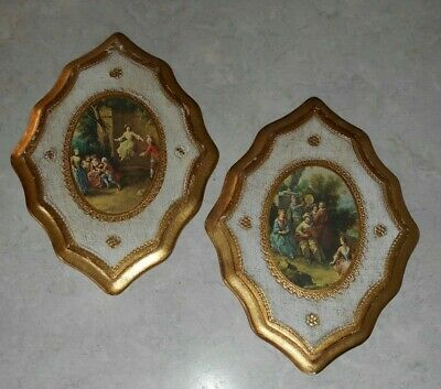 """Set Vtg Mid-Century Italian Florentine Wood Wall Plaques Made in Italy 11"""" x 8"""""""