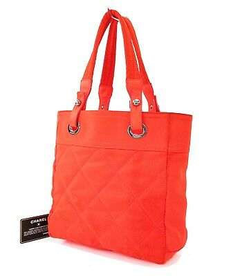 932fa19914b8a0 Authentic CHANEL Paris Biarritz Neon Orange Quilted Nylon Tote Bag Purse  #29871