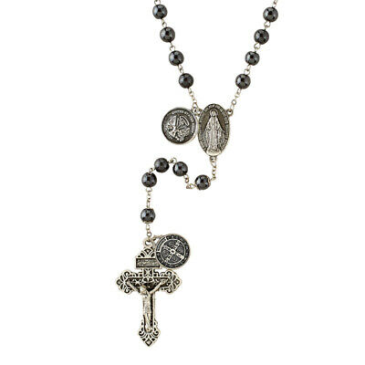 Army Armed Forces Military Hematite Rosary with Saint Benedict Medal