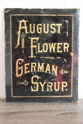 Antique AUGUST FLOWER GERMAN SYRUP SIGN Reverse Paint on Glass Apothecary Store