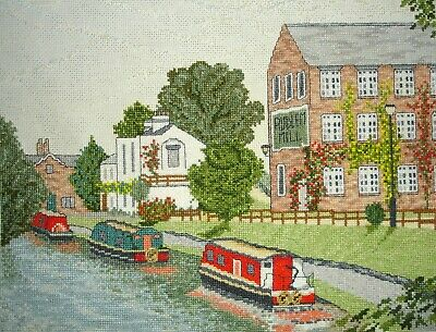 Completed Counted Cross Stitch Unframed Tapestry Picture Audlem Mill & Canal