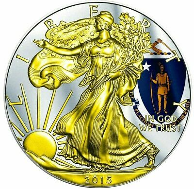 2015 1 Oz Silver AMERICAN EAGLE STATE FLAG MASSACHUSETTS Coin WITH 24K Gold.