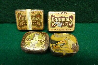 4 Tins Of Gramophone Record Needles - Coulmbia, Hmv & Others.
