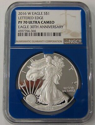 2016 W - Proof Silver American Eagle - Lettered Edge - NGC PF 70 Ultra Cameo