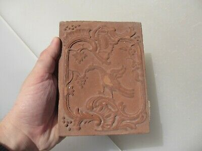 Victorian Terracotta Tile Mythical Phoenix Bird Nature Grapes French Antique Old