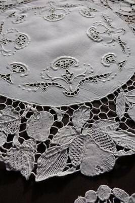 Antique white hand embroidery & Reticella lace table setting - centre & 6 mats