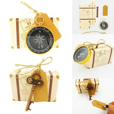 Travel Suitcases Candy Box With Gold Compass Wedding Gifts Favor Party Supplies