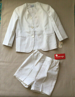 IMP ORIGINALS Vintage NEW Boys 2 Piece WHITE SUIT Jacket Shorts Pants 7 Tag $68