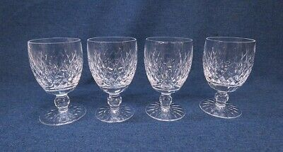 """Waterford Crystal 5 1/8"""" Boyne Water Glass Goblet Set-4 Excellent!"""