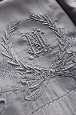 """Pair antique white Irish linen pillowcases with hand worked monogram """"J.M.A"""""""
