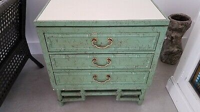 Vintage Ficks Reed Bamboo Fretwork Celadon Green NightStand
