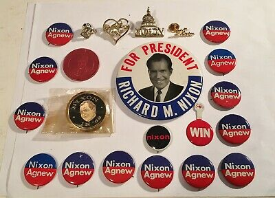 Vintage 1968 Nixon For President Campaign Button-Pins (22) Original+Beauties!