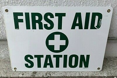 Vintage White Enamel Base w/ Green Painted Letters FIRST AID STATION Sign