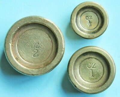 Three brass postal weights, Mordan style