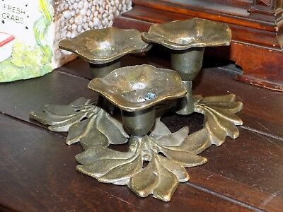 A Old Antique Bronze Candlestick 3no Candle Holder in Shape of Plant / Flower