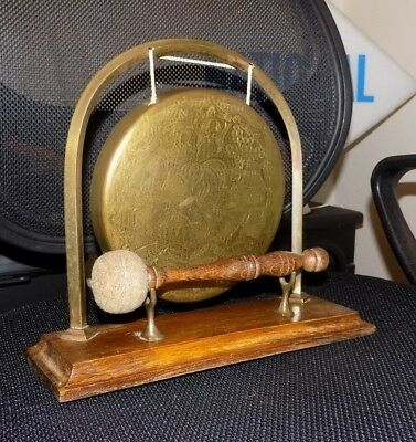 A Antique Wood & Brass Oriental Chinese Decorative Gong on Stand Original Hammer