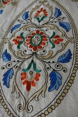 """Vintage cream bedspread with striking embroidery to the centre - 96"""" x 66"""""""