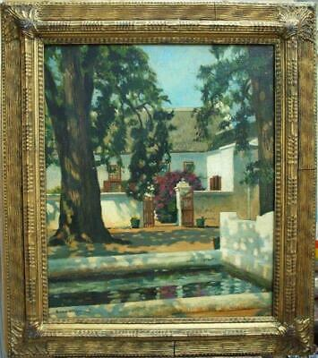 LARGE EARLY 20thCENTURY IMPRESSIONIST SUN DAPPLED COURTYARD Antique Oil Painting