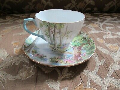 Vintage Shelley Fine Bone China Tea Cup and Saucer; Woodland Pattern
