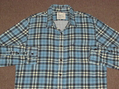 8f3250ee4e67 American Eagle Mens Blue Black & White Plaid Flannel Button Down Front Shirt  XL