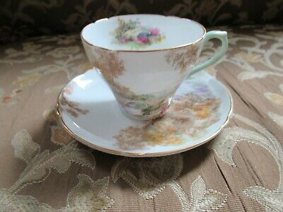 Vintage Shelley Fine Bone China Tea Cup and Saucer; Heather Pattern