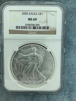 2005 Silver American Eagle Ngc Ms69 3548348-005