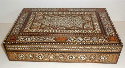 "EGYPTIAN HANDMADE INLAID JEWELLERY BOX MOTHER OF PEARL 11.25"" x 7.75"" SUPERB"