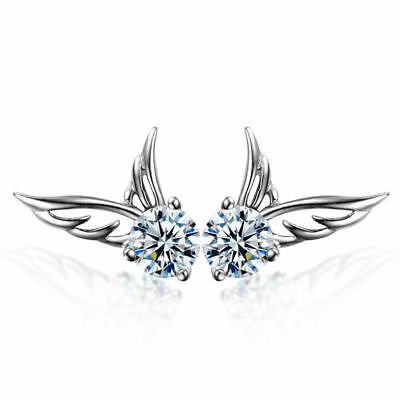 Women 925 Sterling Silver Crystal Angel Wings Ear Stud Earrings - NEW