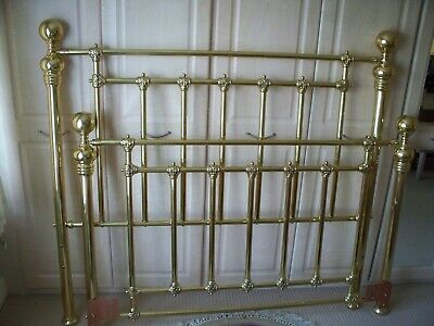 """Brass Bedstead 4'6"""" Head And Base - Buyer Collects From Luton"""