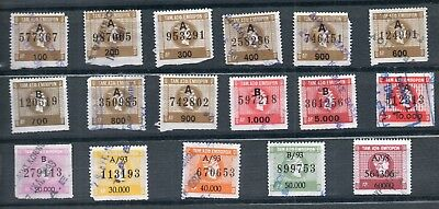 Greece 17 Old Rrr Greek Revenue Stamps Different Used Jump Ενσημα Fund Tae  (B4)