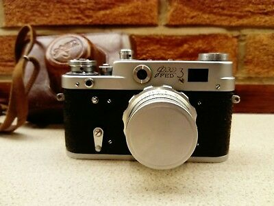 Vintage FED 3 Russian 35mm Film Camera with Industar 26 Lens & Case