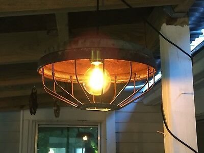 Vintage Chicken Feeder Light w/ 15' Cord & Socket, On/Off Switch, Ready to Hang!