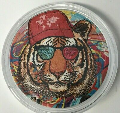 "2017 CANADA MAPLE LEAF ""HIPSTER TIGER"" Colorized 1oz .9999 Silver - Box and COA"