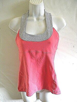 2306ae372be0d LULULEMON ATHLETICA pink  gray striped top has shelf bra womens size 8   36