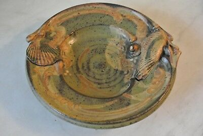 Vtg Seashells  Studio Art Pottery Stoneware Plate 1St National  earth tones