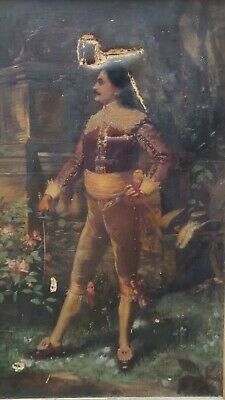 19th Century MUSKETEER Portrait Antique Oil Painting...please read NR!