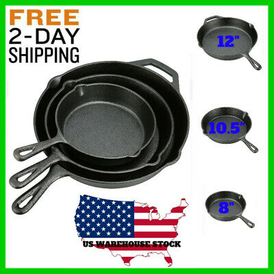 3 Iron Cast Skillet Pre Seasoned Fry Pans Cookware Stove Oven Set No Hand Heat