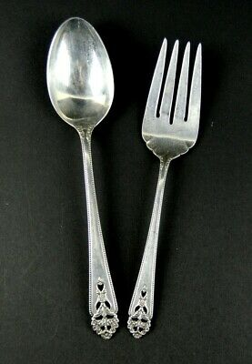 INTERNATIONAL STERLING Silver 'Queens Lace' Serving Fork/Spoon Set - NO MONOGRAM