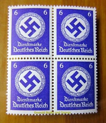 EBS Germany 1942 6 Pfennig Official Swastika Dienst BLOCK 4 Michel 169 MNH**