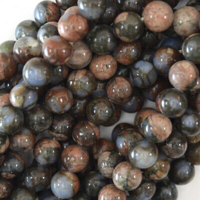"Natural Blue Gray Opal Round Beads Gemstone 15.5"" Strand 4mm 6mm 8mm 10mm 12mm"