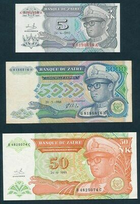 """Zaire: 1988-93 5 to 50,000 Zaires """"SKY-HIGH INFLATION SET OF 4"""". Mostly UNC"""
