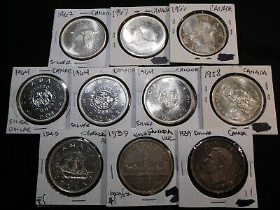 Z1 Canada Silver $1 1939 1949 1958 1964 1966 1967 Mixed Date Group 10 Coins