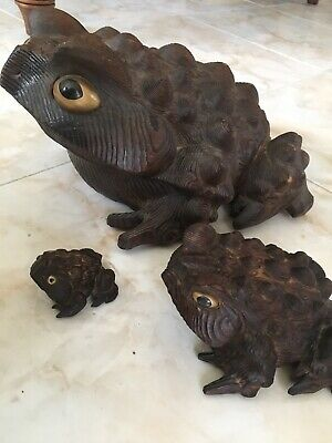 Group Of 3 Antique Japanese Hand Carved Cryptomeria Wood Toads Frogs