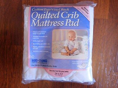 """Kid-Ding Water Resistant Quilted Crib / Toddler Bed Mattress Pad - 28"""" x 52"""""""