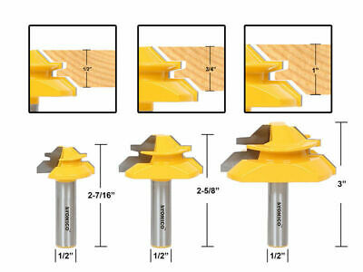"1/2"" Shank Wood Router Bits Lock Miter 45 Degree End Milling Cutter Joint Tool S"