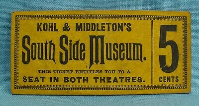 Kohl & Middleton's South Side Museum Ticket = Circus Sideshow Freak Attractions
