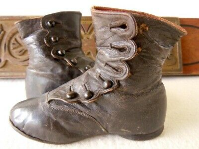 Antique Victorian Children's Toddler Button Shoes Black Leather Ankle Boots