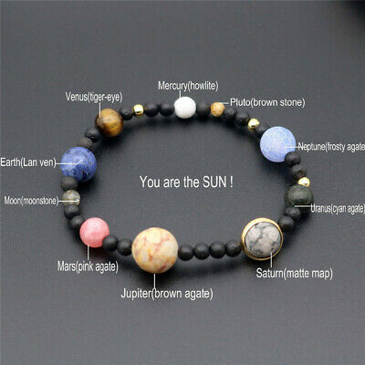 Weave Bracelet Galaxy Solar System Eight Planets Theme Natural Stone Alloy Beads