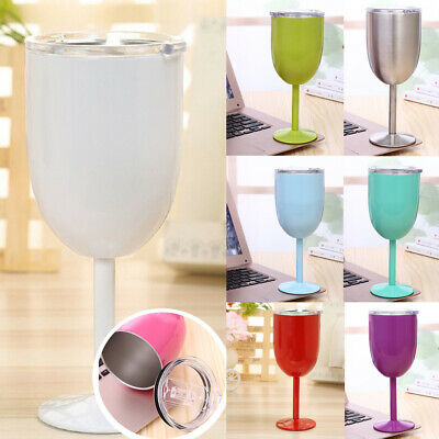 10oz Wine Beer Glass Stainless Steel Home Double Insulated Goblet Wine Mug Cup