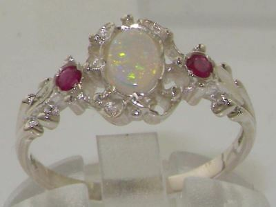 Solid 9ct White Gold Natural Opal & Ruby Vintage Style Ladies Ring